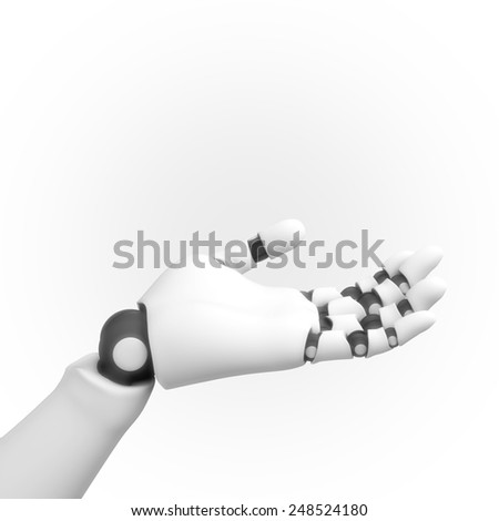 white robotic hand - stock photo