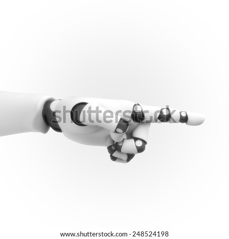 white robotic hand - stock photo
