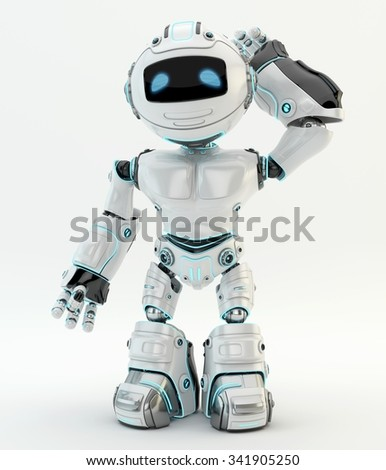 White robotic scratching his head perplexedly - stock photo
