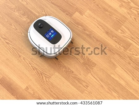 White robotic vacuum cleaner moving on flooring. 3D rendering image.