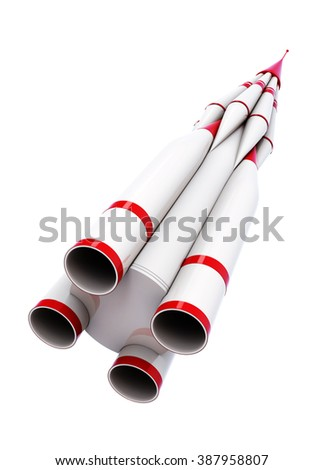 White rocket isolated on white background. 3d rendering.