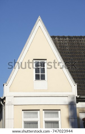 White Roof Window On An Old House, Roof Gable