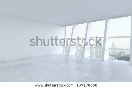 white room and big window - stock photo