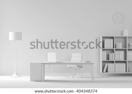 White room as office with desk and laptop computer (3D Rendering) - stock photo