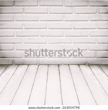 White room, brick wall and wood floor for background - stock photo