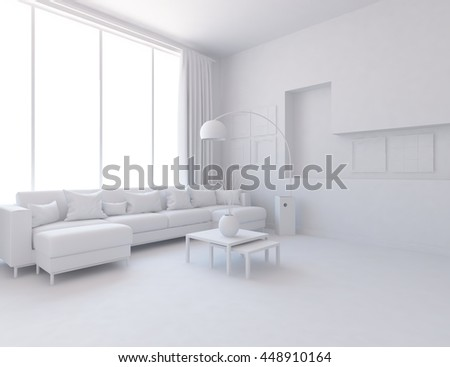 White room interior. Scandinavian interior. 3d illustration