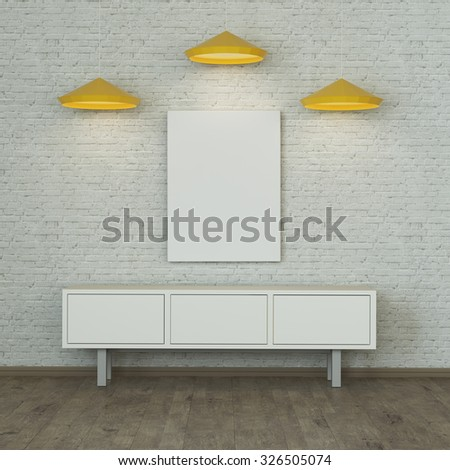 White room interior with a brick wall and wooden floor. 3d rendering - stock photo