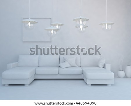 White room interior with lamps. Scandinavian interior. 3d illustration