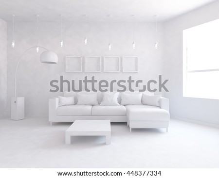 White room interior with sofa. Scandinavian interior. 3d illustration