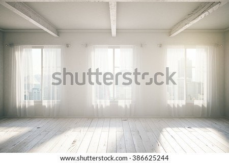 White room loft interior design with three windows, wooden floor, curtains and city view. 3D Render - stock photo