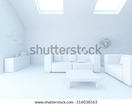 white room on the roof. 3d rendering