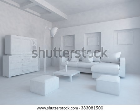 white room. White interior. 3d illustration