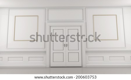 White room with a closed double door