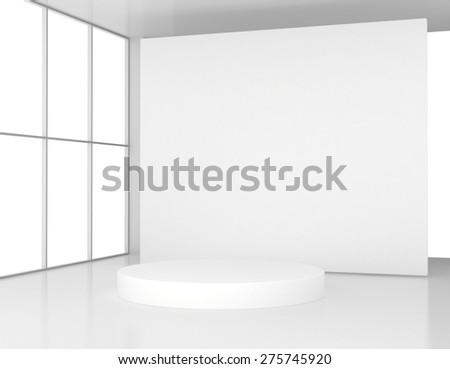 White room with a round pedestal. 3d render - stock photo
