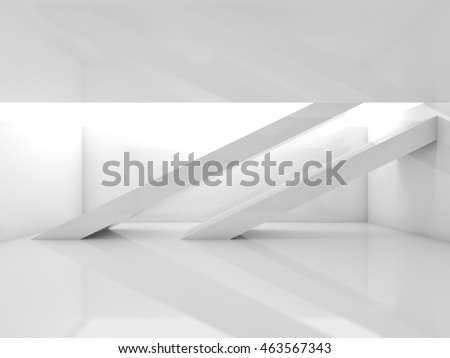White room with beams and soft illumination. Abstract empty contemporary interior background. Digital 3d illustration
