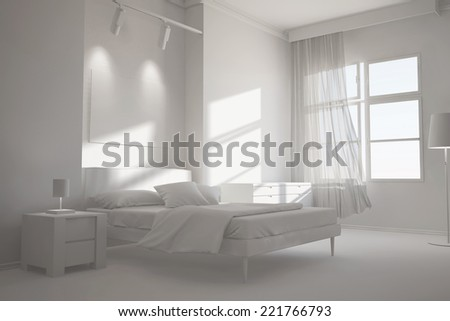 White room with bed and window as bedroom