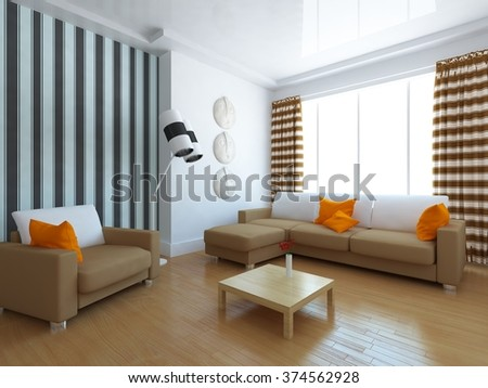white room with beige furniture. 3d illustration - stock photo