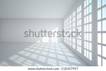 white room with big window