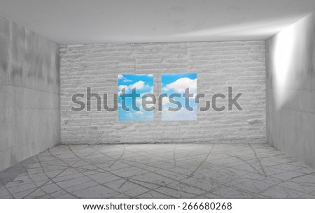 white room with big window - stock photo
