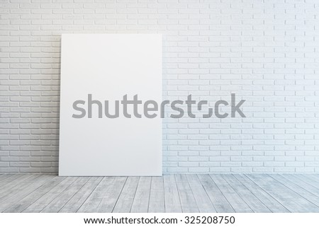 white room with blank picture - stock photo