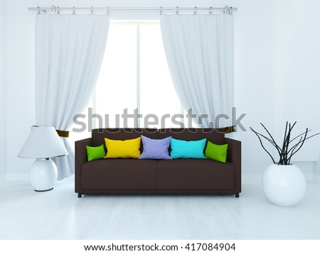 White room with brown sofa and curtains. Living room interior. Scandinavian interior. 3d illustration - stock photo