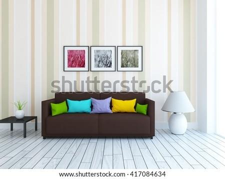 brown sofa living room. White room with brown sofa  Living interior Scandinavian 3d illustration Brown Room Sofa Interior Stock Illustration 425106364