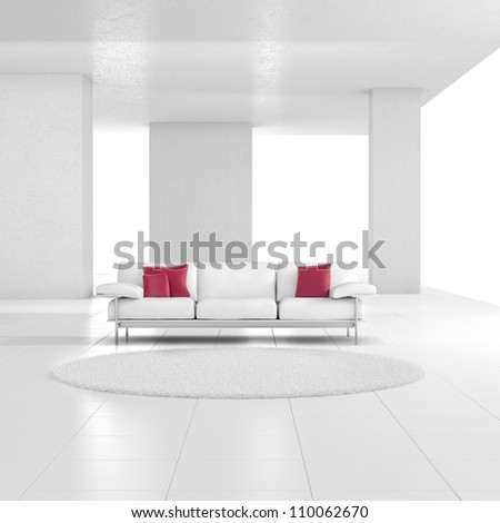 White room with carpet and red cushions