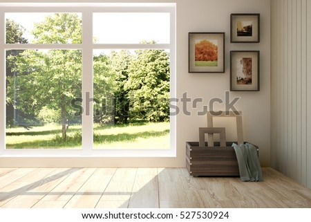 White Room With Modern Furniture And Green Landscape In Window Scandinavian Interior Design 3D