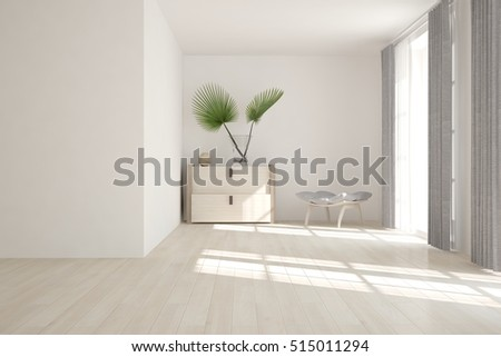 White room with modern furniture. Scandinavian interior design. 3D illustration