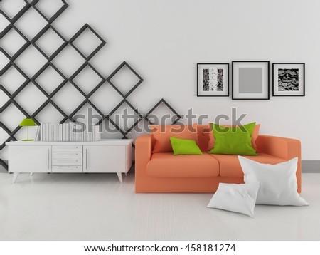 white room with orange sofa. Living room interior. Scandinavian interior. 3d illustration - stock photo