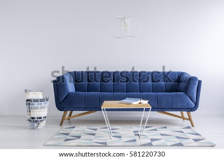 Blue And White Room cozy blue white living room flowery stock photo 654536338