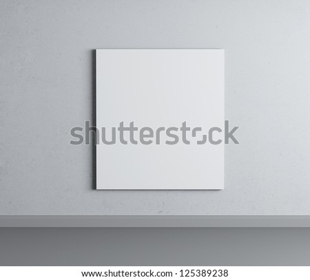 white room with poster on wall - stock photo