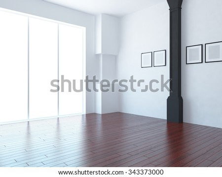 white room with red wooden floor. 3d rendering - stock photo
