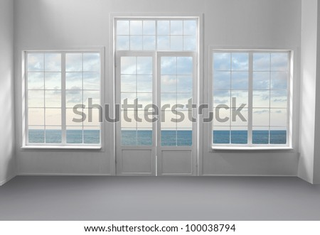 White room with sea view - stock photo