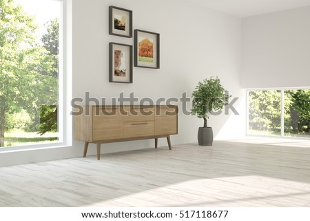 White Room With Shelf And Green Landscape In Window Scandinavian Interior Design 3D Illustration