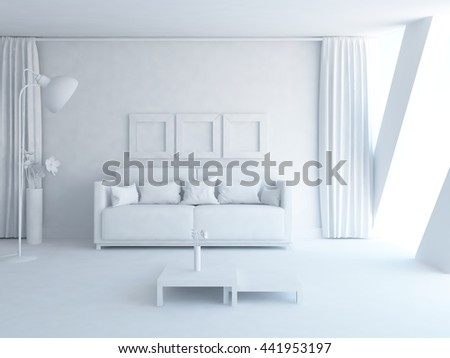 White room with sofa and curtains on the wall. Living room interior. Scandinavian interior. 3d illustration