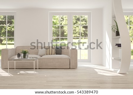 White room with sofa and green landscape in window  Scandinavian interior  design  3D illustration. White Room Sofa Scandinavian Interior Design Stock Illustration