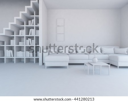 White room with sofa and stairs. Living room interior. Scandinavian interior. 3d illustration