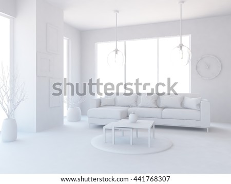 White room with sofa and table. Living room interior. Scandinavian interior. 3d illustration
