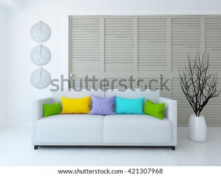 White room with sofa and wardrobe. Living room interior. Scandinavian interior. 3d illustration - stock photo