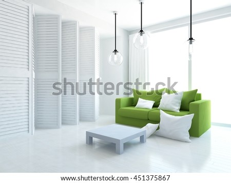 white room with sofa and wardrobe. Living room interior. Scandinavian interior. 3d illustration