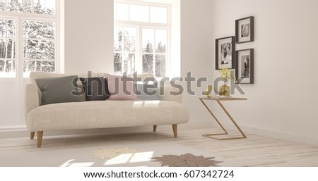 White Living Room Black Furniture Window Stock Photo 556909138