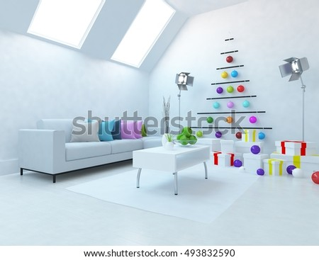 White room with sofa. Christmas interior. Living room interior. Scandinavian interior. 3d illustration