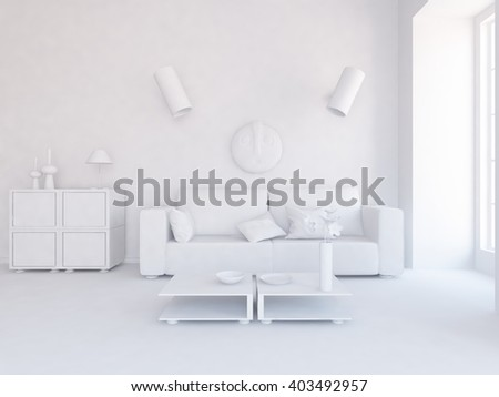 White room with sofa.3d illustration