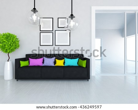 White room with sofa in the large flat. Living room interior. Scandinavian interior. 3d illustration