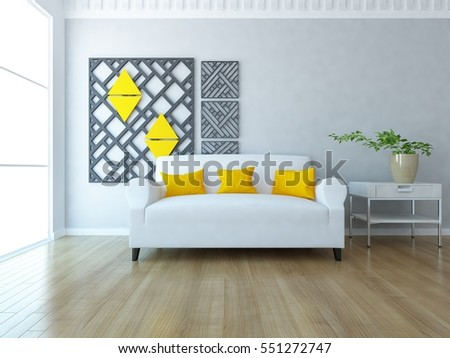 white room with sofa. Living room interior. Scandinavian interior design. 3d illustration