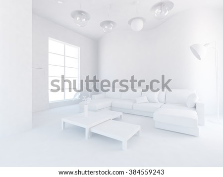 white room with sofa. White interior. 3d concept