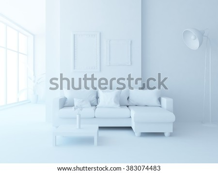 white room with sofa. White interior.3d illustration