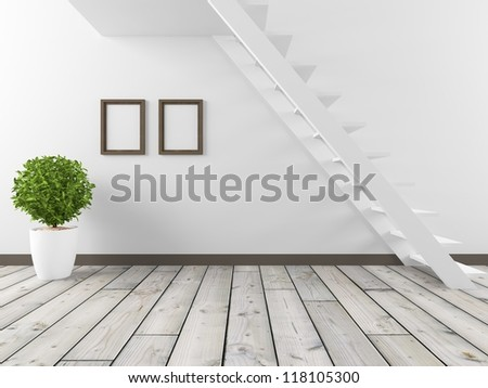 white room with stairs - stock photo