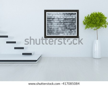 White room with stairs. Living room interior. Scandinavian interior. 3d illustration - stock photo